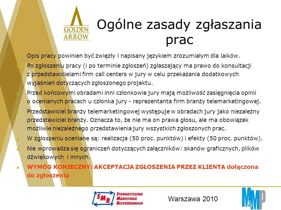 Warszawa 2010 Ogólne zasady zgłaszania prac Opis pracy powinien być zwięzły i napisany językiem zrozumiałym dla laików.