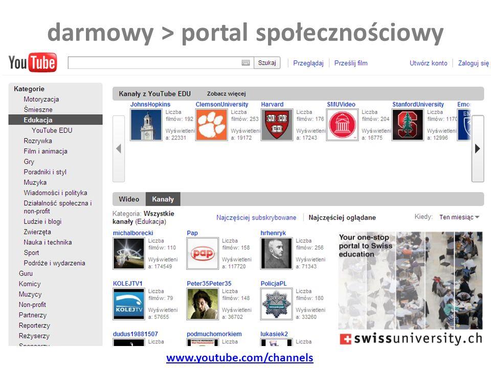 darmowy > portal społecznościowy www.youtube.com/channels