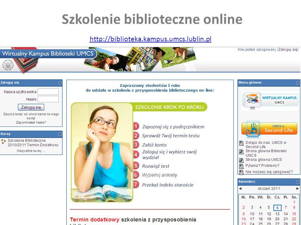 Szkolenie biblioteczne online http://biblioteka.kampus.umcs.lublin.pl