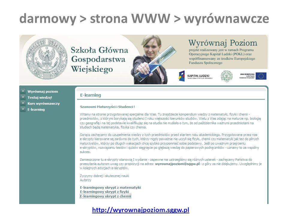 darmowy > strona WWW > wyrównawcze http://wyrownajpoziom.sggw.pl