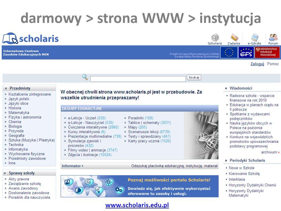 darmowy > strona WWW > instytucja www.scholaris.edu.pl