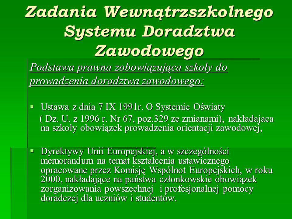 Zadania Wewnątrzszkolnego Systemu Doradztwa Zawodowego Podstawa prawna zobowiązująca szkoły do prowadzenia doradztwa zawodowego: Ustawa z dnia 7 IX 1991r.
