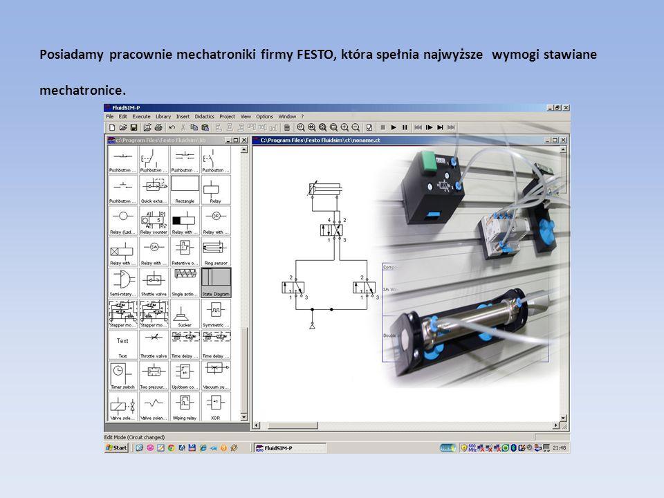 Posiadamy pracownie mechatroniki firmy FESTO, która spełnia najwyższe wymogi stawiane mechatronice.