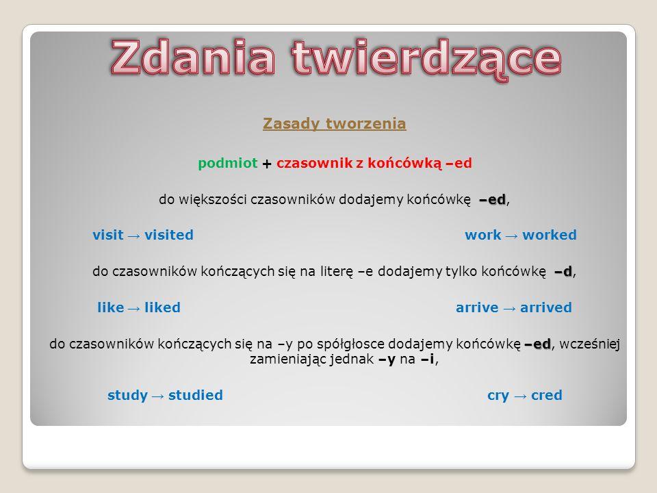 Zasady tworzenia podmiot + czasownik z końcówką –ed –ed do większości czasowników dodajemy końcówkę –ed, visit visited work worked –d do czasowników k