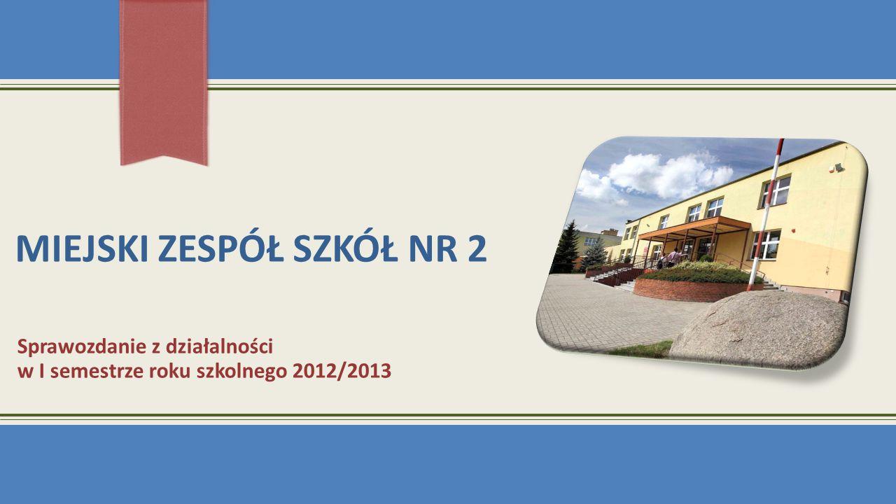 MIEJSKI ZESPÓŁ SZKÓŁ NR 2 Sprawozdanie z działalności w I semestrze roku szkolnego 2012/2013