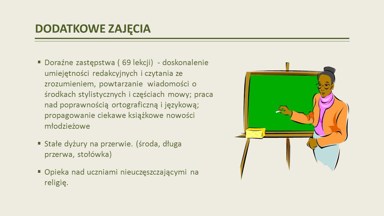 DODATKOWE ZAJĘCIA Doraźne zastępstwa ( 69 lekcji) - doskonalenie umiejętności redakcyjnych i czytania ze zrozumieniem, powtarzanie wiadomości o środkach stylistycznych i częściach mowy; praca nad poprawnością ortograficzną i językową; propagowanie ciekawe książkowe nowości młodzieżowe Stałe dyżury na przerwie.