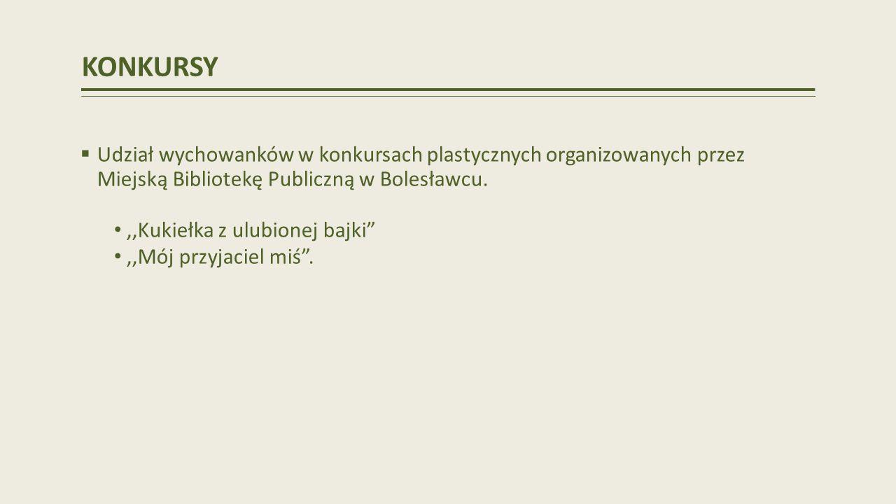 KONKURSY Udział wychowanków w konkursach plastycznych organizowanych przez Miejską Bibliotekę Publiczną w Bolesławcu.,,Kukiełka z ulubionej bajki,,Mój przyjaciel miś.