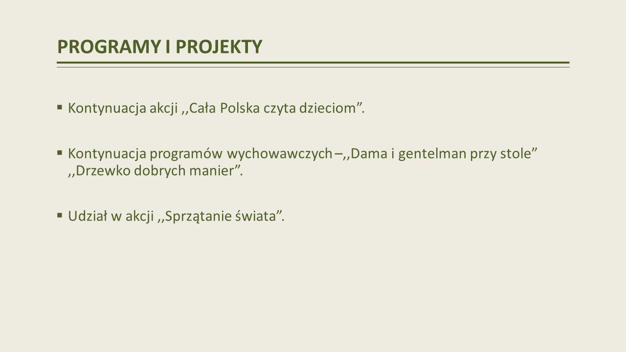PROGRAMY I PROJEKTY Kontynuacja akcji,,Cała Polska czyta dzieciom.