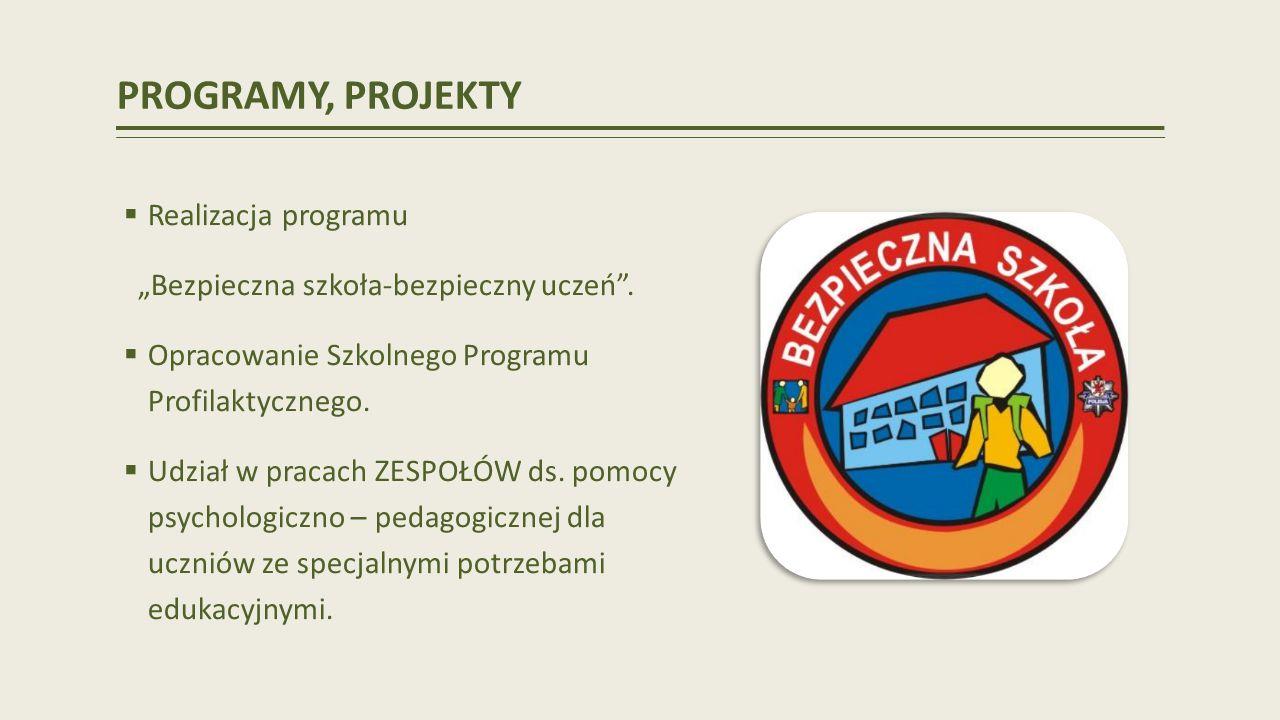 PROGRAMY, PROJEKTY Realizacja programu Bezpieczna szkoła-bezpieczny uczeń.