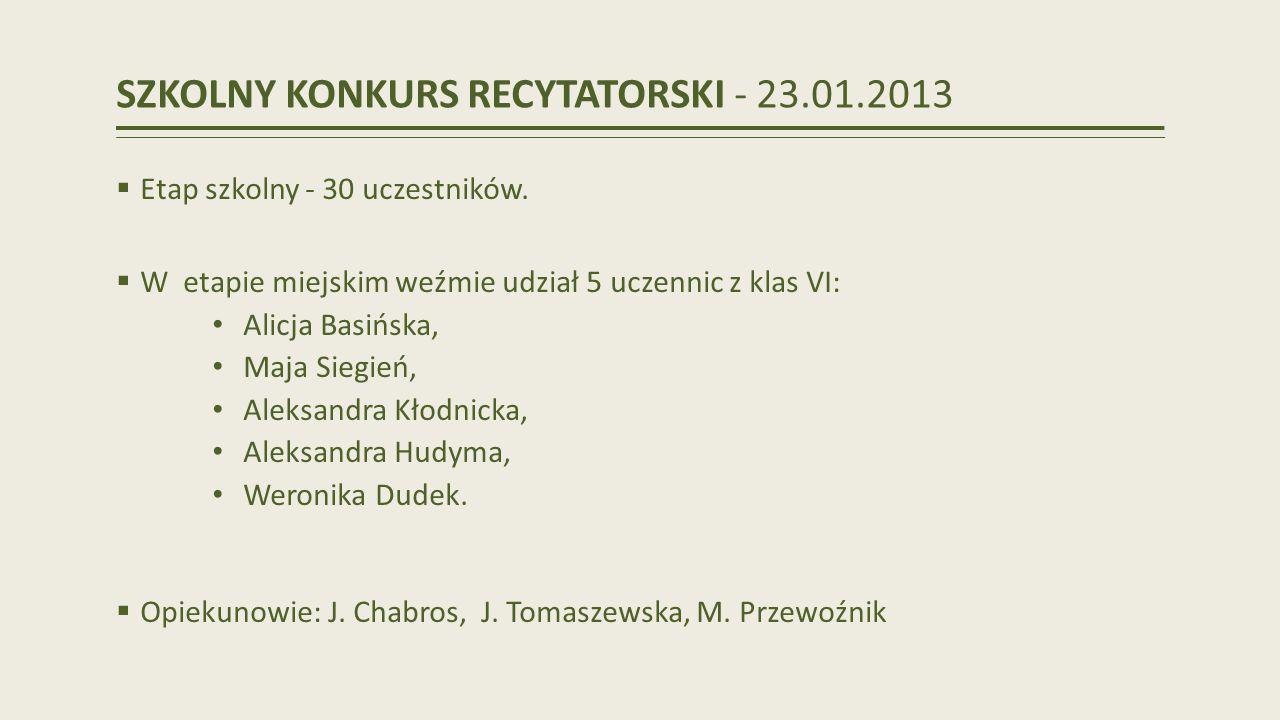 SZKOLNY KONKURS RECYTATORSKI - 23.01.2013 Etap szkolny - 30 uczestników.