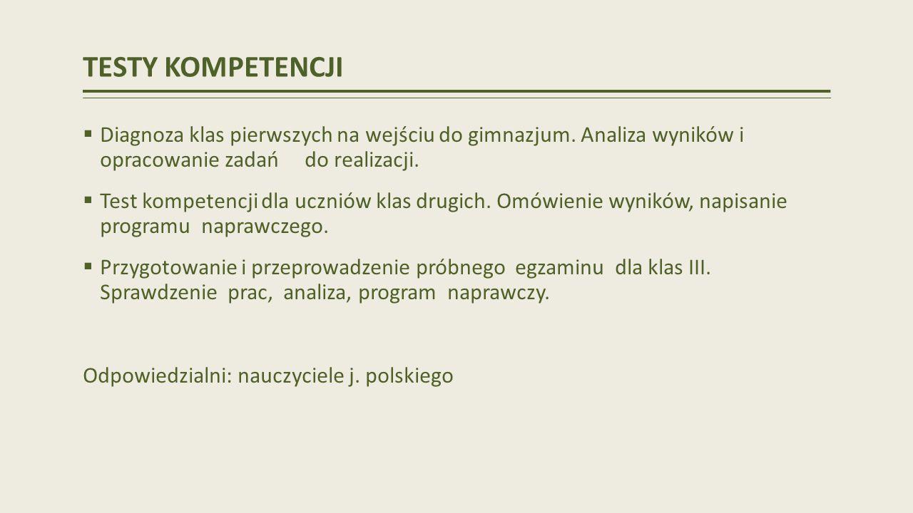 TESTY KOMPETENCJI Diagnoza klas pierwszych na wejściu do gimnazjum.