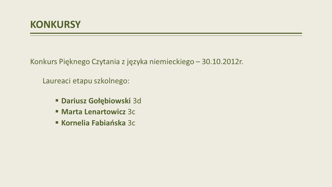 KONKURSY Konkurs Pięknego Czytania z języka niemieckiego – 30.10.2012r.