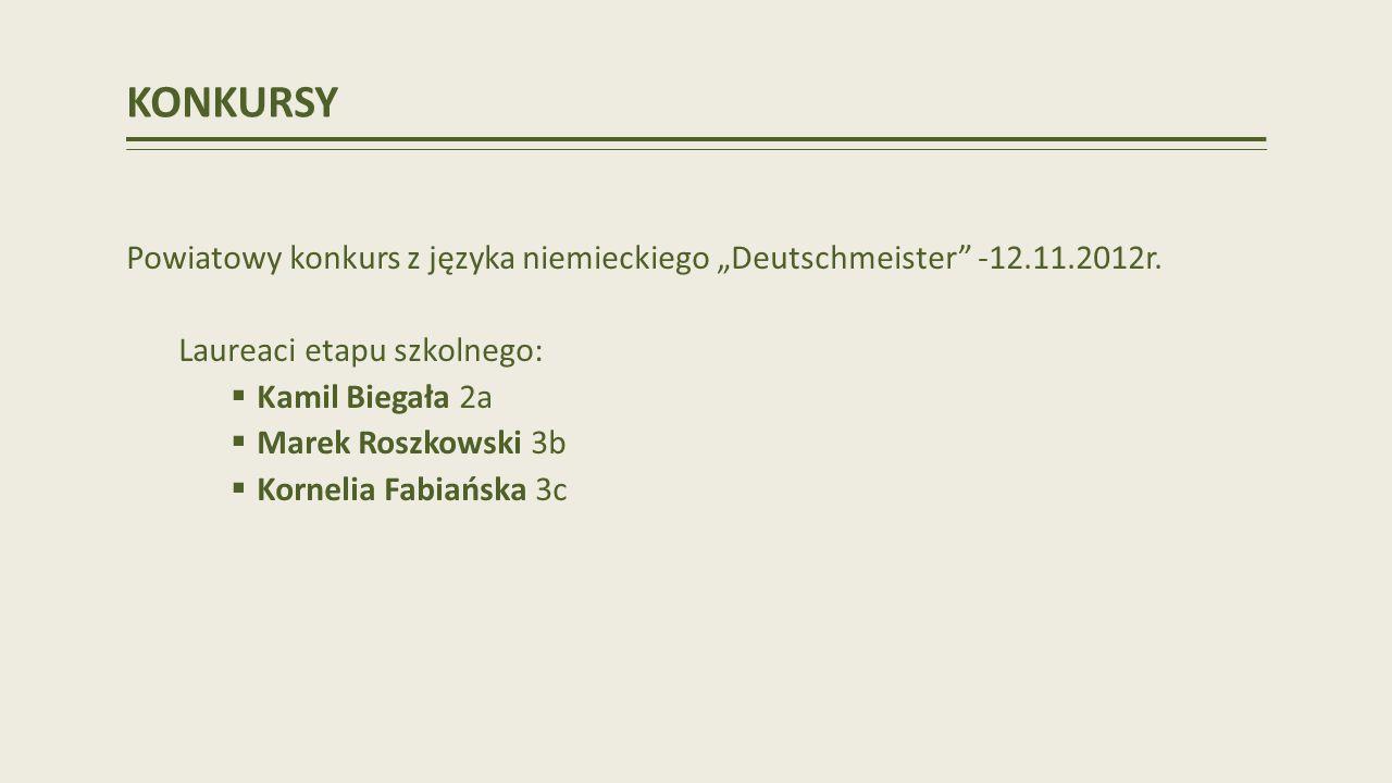 KONKURSY Powiatowy konkurs z języka niemieckiego Deutschmeister -12.11.2012r.