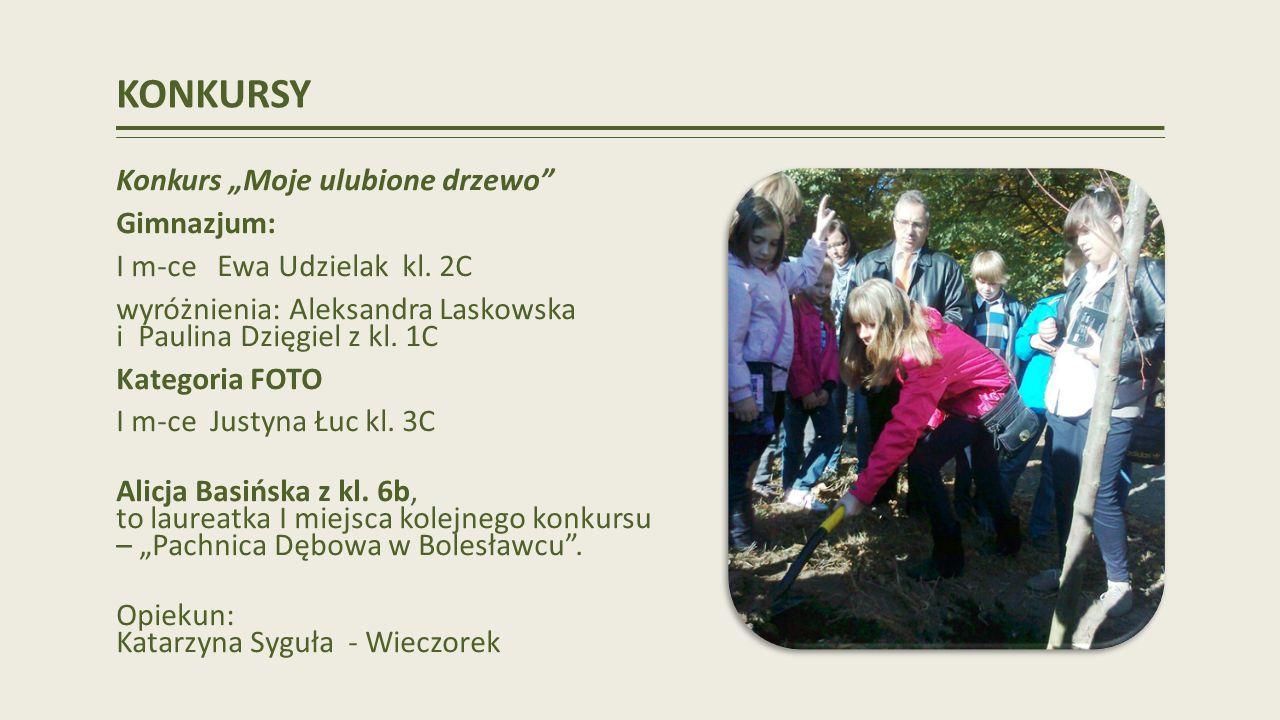 KONKURSY Konkurs Moje ulubione drzewo Gimnazjum: I m-ce Ewa Udzielak kl.