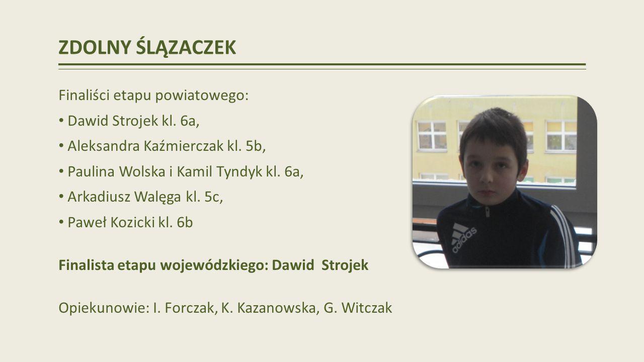 ZDOLNY ŚLĄZACZEK Finaliści etapu powiatowego: Dawid Strojek kl.