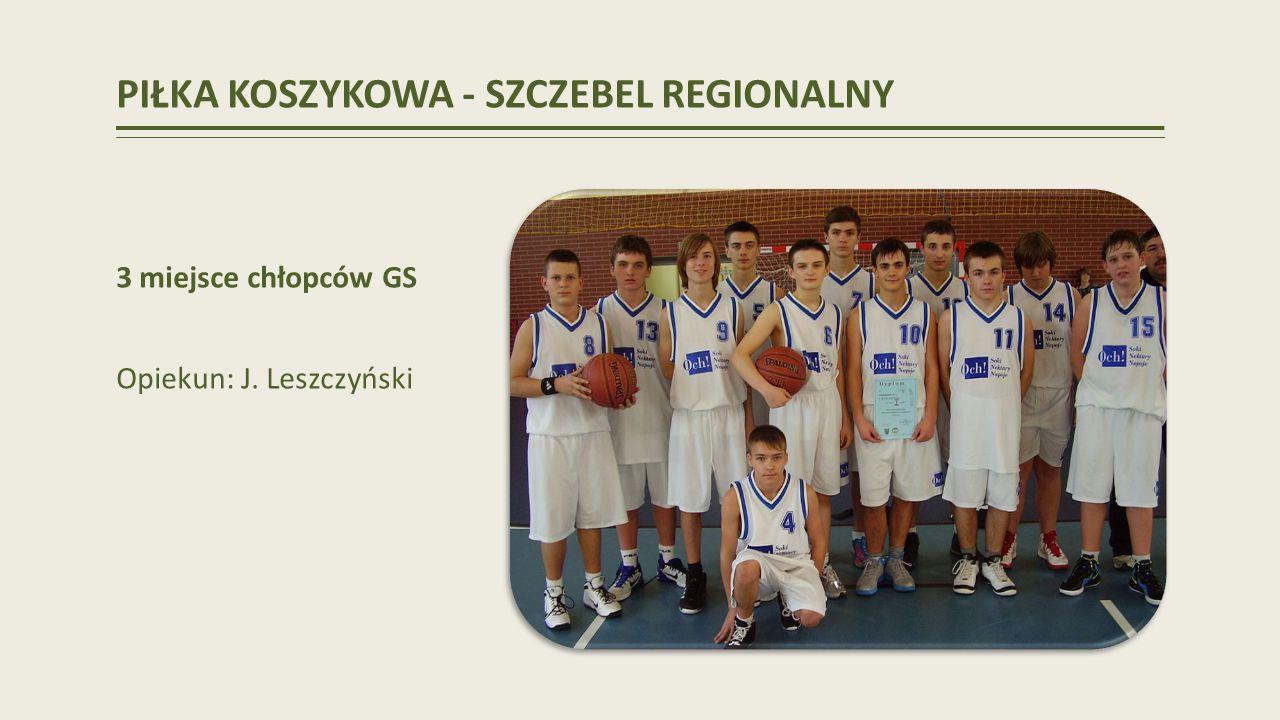 PIŁKA KOSZYKOWA - SZCZEBEL REGIONALNY 3 miejsce chłopców GS Opiekun: J. Leszczyński