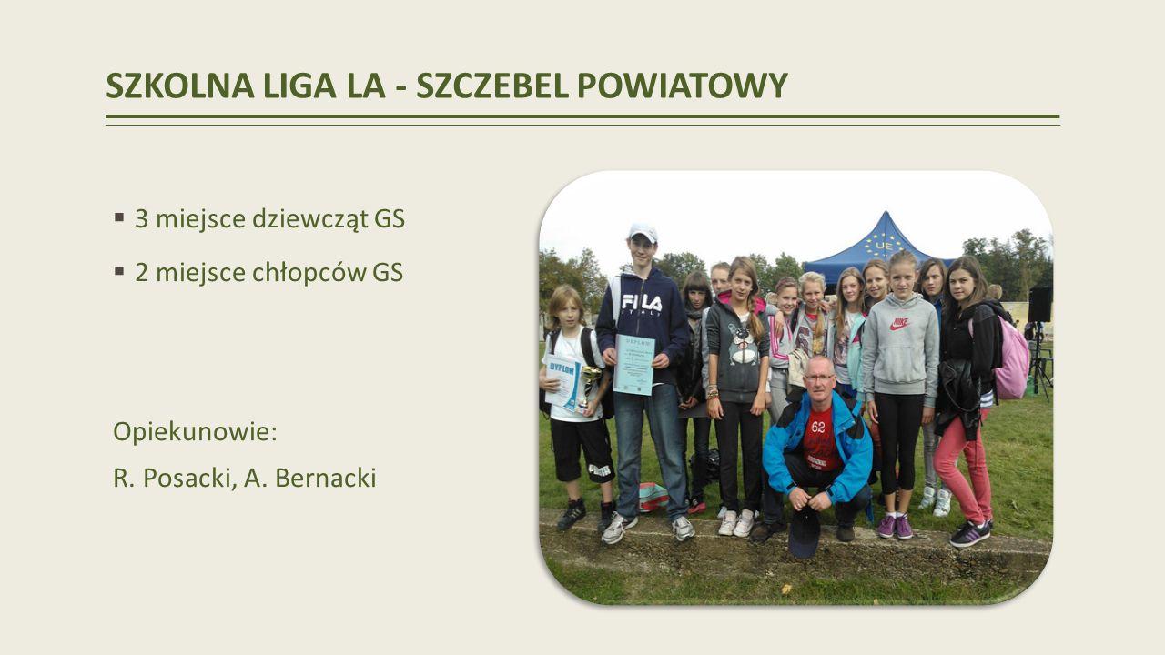 SZKOLNA LIGA LA - SZCZEBEL POWIATOWY 3 miejsce dziewcząt GS 2 miejsce chłopców GS Opiekunowie: R.