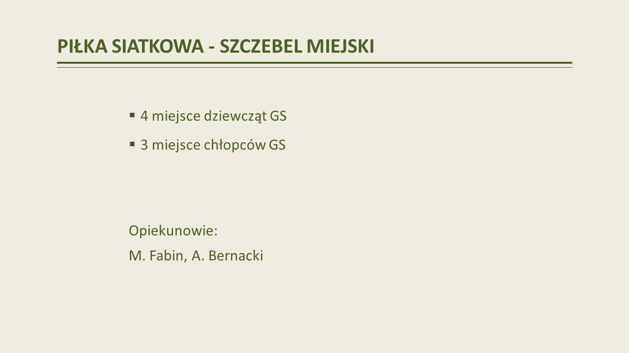 PIŁKA SIATKOWA - SZCZEBEL MIEJSKI 4 miejsce dziewcząt GS 3 miejsce chłopców GS Opiekunowie: M.