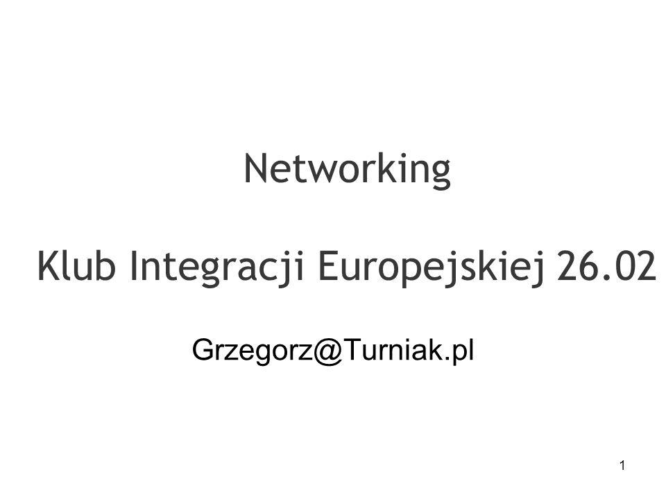 1 Networking Klub Integracji Europejskiej 26.02 Grzegorz@Turniak.pl