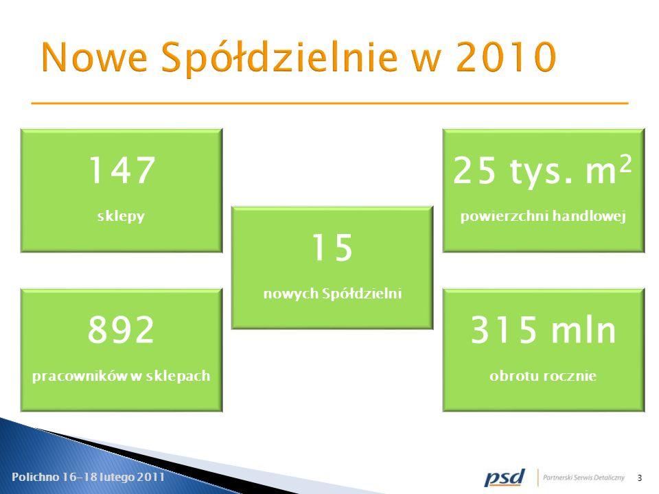 3 15 nowych Spółdzielni 147 sklepy 315 mln obrotu rocznie 892 pracowników w sklepach 25 tys. m 2 powierzchni handlowej