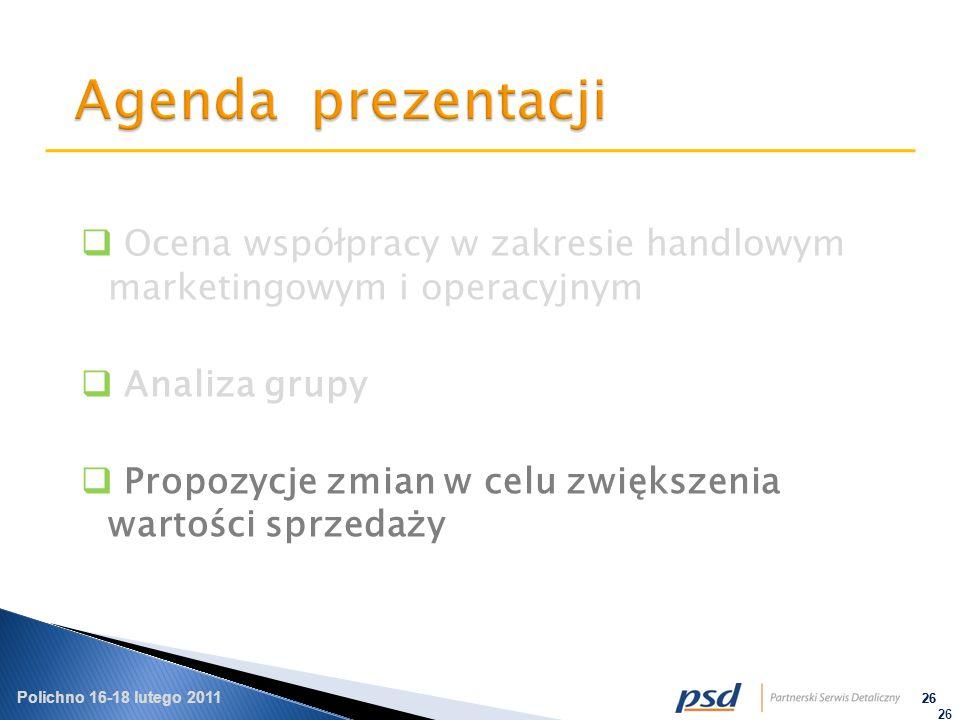 Polichno 16-18 lutego 2011 26 Ocena współpracy w zakresie handlowym marketingowym i operacyjnym Analiza grupy Propozycje zmian w celu zwiększenia wartości sprzedaży 26