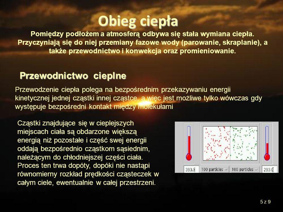 Obieg ciepła Pomiędzy podłożem a atmosferą odbywa się stała wymiana ciepła. Przyczyniają się do niej przemiany fazowe wody (parowanie, skraplanie), a