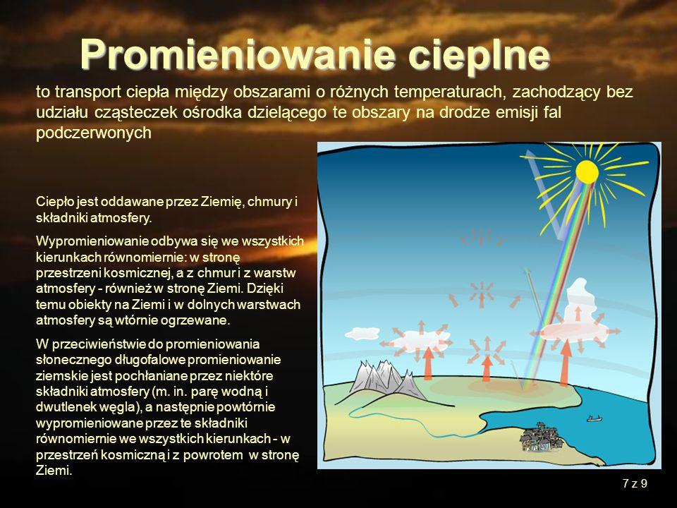 7 to transport ciepła między obszarami o różnych temperaturach, zachodzący bez udziału cząsteczek ośrodka dzielącego te obszary na drodze emisji fal p