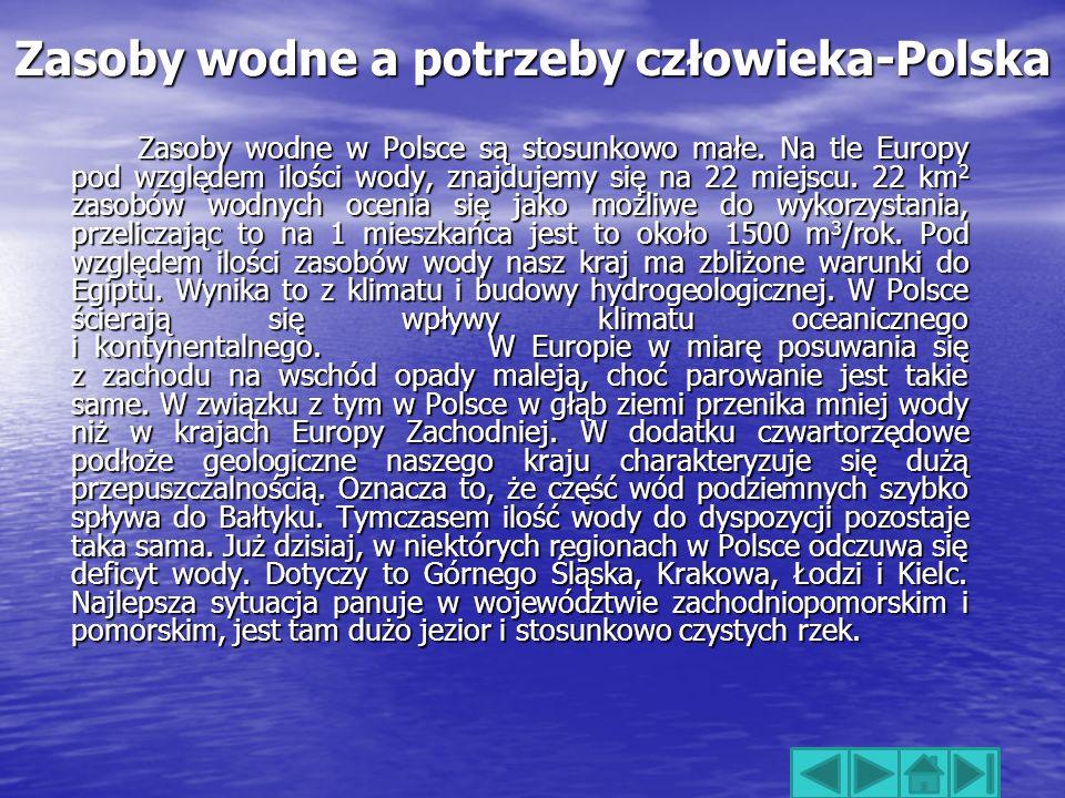 Zasoby wodne a potrzeby człowieka-Polska Zasoby wodne w Polsce są stosunkowo małe.