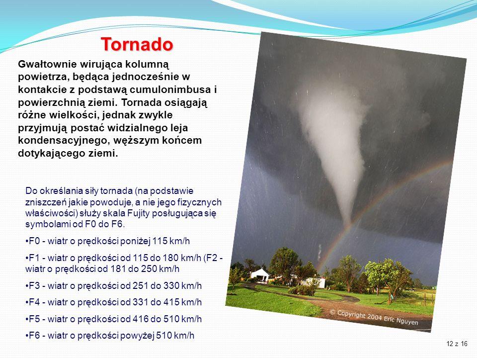 Tornado Do określania siły tornada (na podstawie zniszczeń jakie powoduje, a nie jego fizycznych właściwości) służy skala Fujity posługująca się symbo