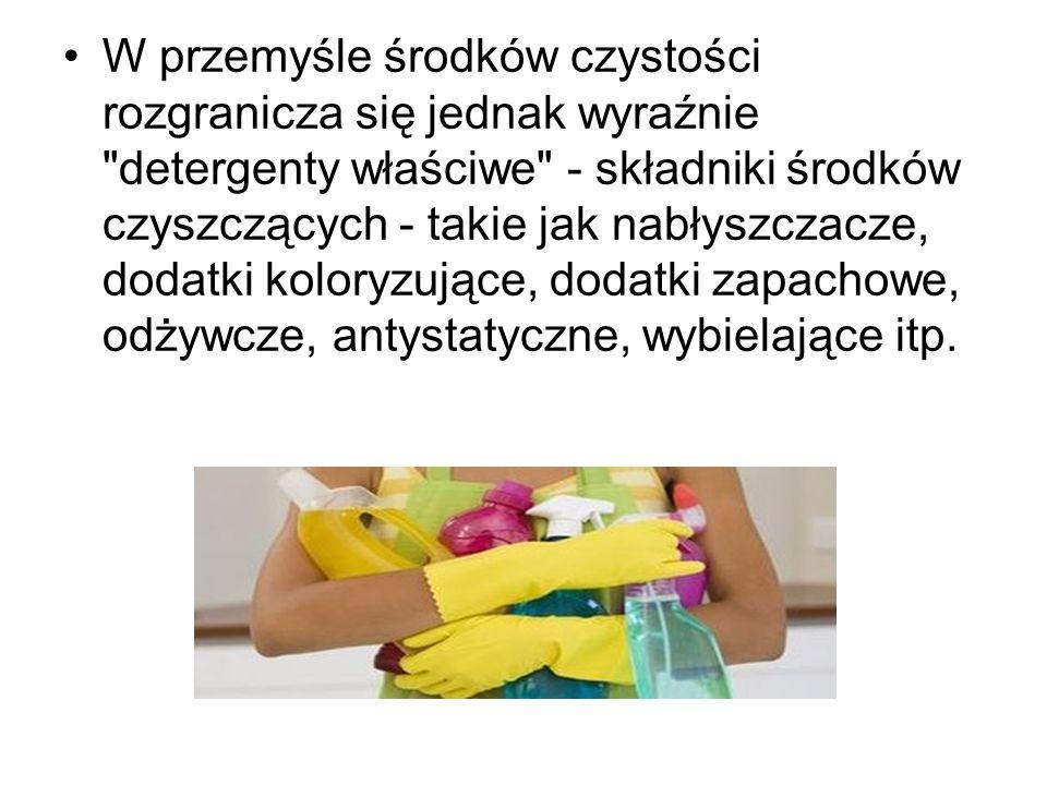 Detergenty : sole sodowe estratów kwasu siarkowego z wyższymi alkoholami. związki lub ich mieszaniny, które stanowią aktywny czynnik wszelkich środków