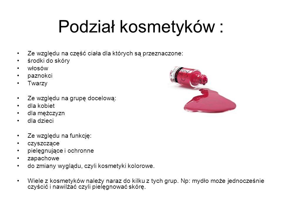 Kosmetyki i preparaty kosmetyczne :