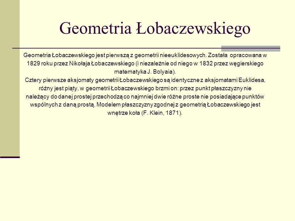 Geometria Łobaczewskiego Geometria Łobaczewskiego jest pierwszą z geometrii nieeuklidesowych. Została opracowana w 1829 roku przez Nikołaja Łobaczewsk