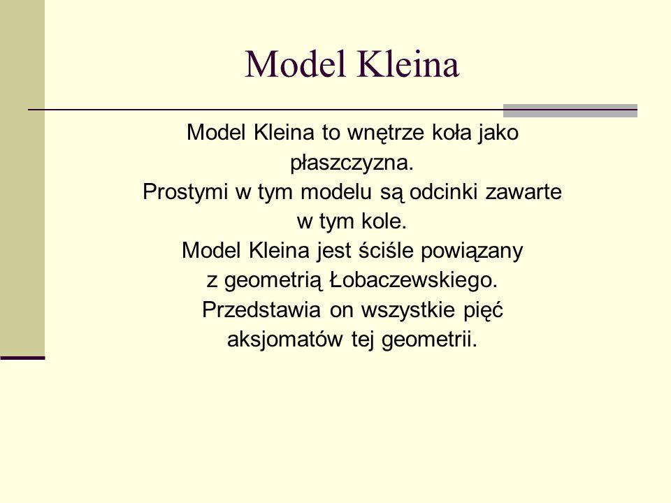 Model Kleina Model Kleina to wnętrze koła jako płaszczyzna. Prostymi w tym modelu są odcinki zawarte w tym kole. Model Kleina jest ściśle powiązany z