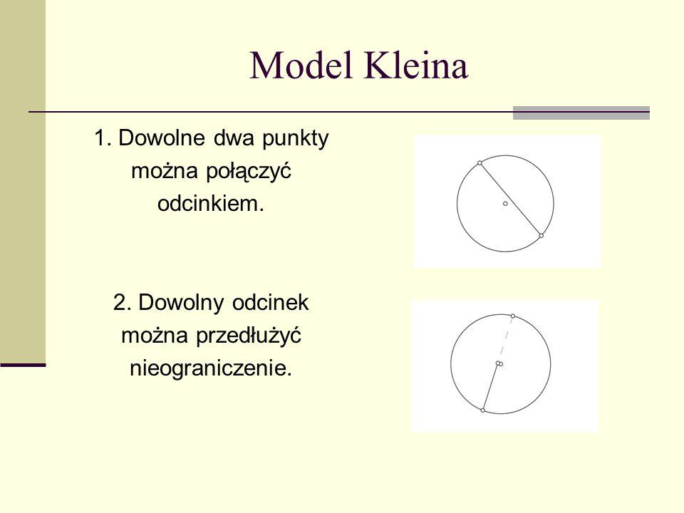 Model Kleina 1. Dowolne dwa punkty można połączyć odcinkiem. 2. Dowolny odcinek można przedłużyć nieograniczenie.