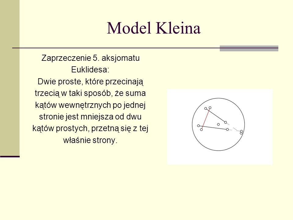 Model Kleina Zaprzeczenie 5. aksjomatu Euklidesa: Dwie proste, które przecinają trzecią w taki sposób, że suma kątów wewnętrznych po jednej stronie je