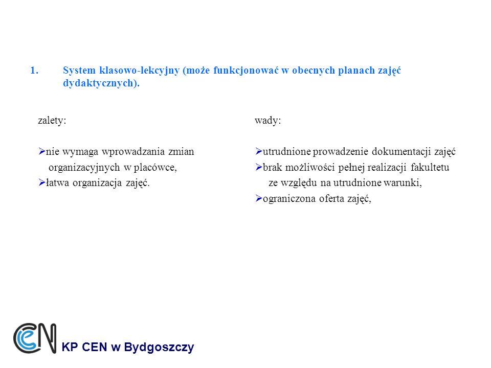 1.System klasowo-lekcyjny (może funkcjonować w obecnych planach zajęć dydaktycznych). KP CEN w Bydgoszczy zalety: nie wymaga wprowadzania zmian organi