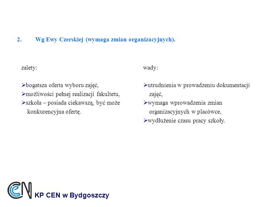 2.Wg Ewy Czerskiej (wymaga zmian organizacyjnych). KP CEN w Bydgoszczy zalety: bogatsza oferta wyboru zajęć, możliwości pełnej realizacji fakultetu, s