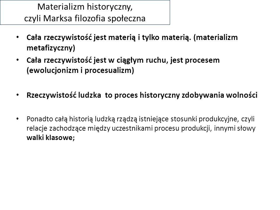 Materializm historyczny, czyli Marksa filozofia społeczna Cała rzeczywistość jest materią i tylko materią.