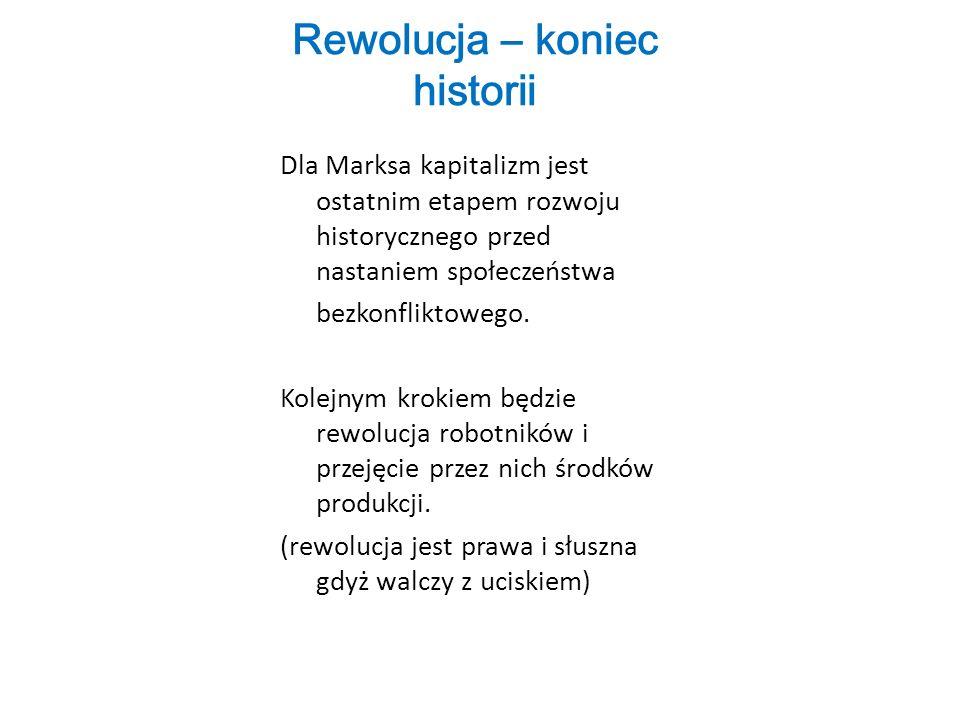 Rewolucja – koniec historii Dla Marksa kapitalizm jest ostatnim etapem rozwoju historycznego przed nastaniem społeczeństwa bezkonfliktowego.