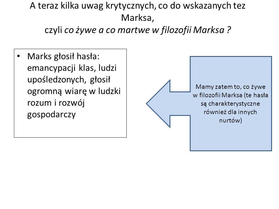 A teraz kilka uwag krytycznych, co do wskazanych tez Marksa, czyli co żywe a co martwe w filozofii Marksa .