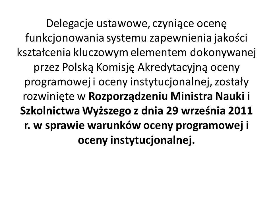 Delegacje ustawowe, czyniące ocenę funkcjonowania systemu zapewnienia jakości kształcenia kluczowym elementem dokonywanej przez Polską Komisję Akredytacyjną oceny programowej i oceny instytucjonalnej, zostały rozwinięte w Rozporządzeniu Ministra Nauki i Szkolnictwa Wyższego z dnia 29 września 2011 r.