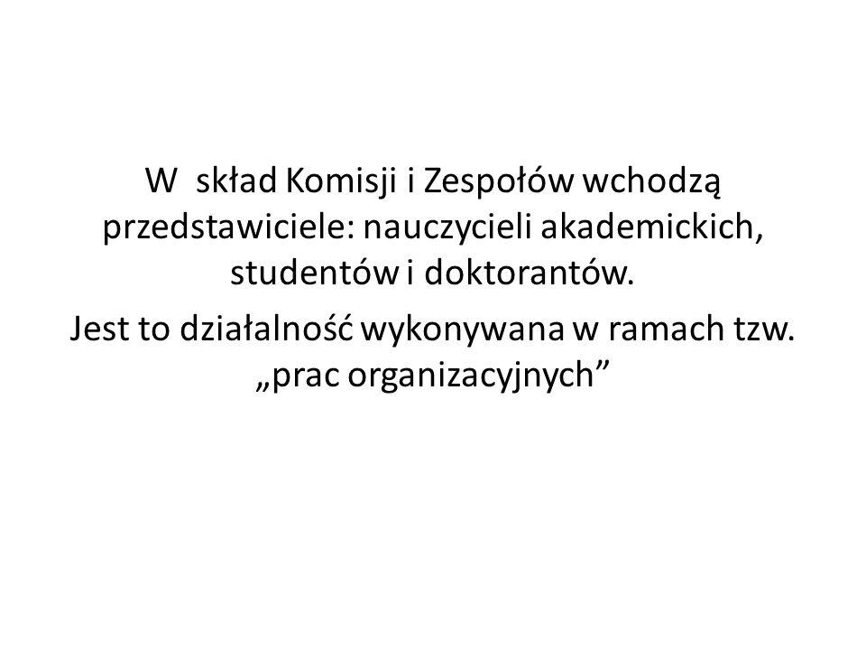 W skład Komisji i Zespołów wchodzą przedstawiciele: nauczycieli akademickich, studentów i doktorantów.