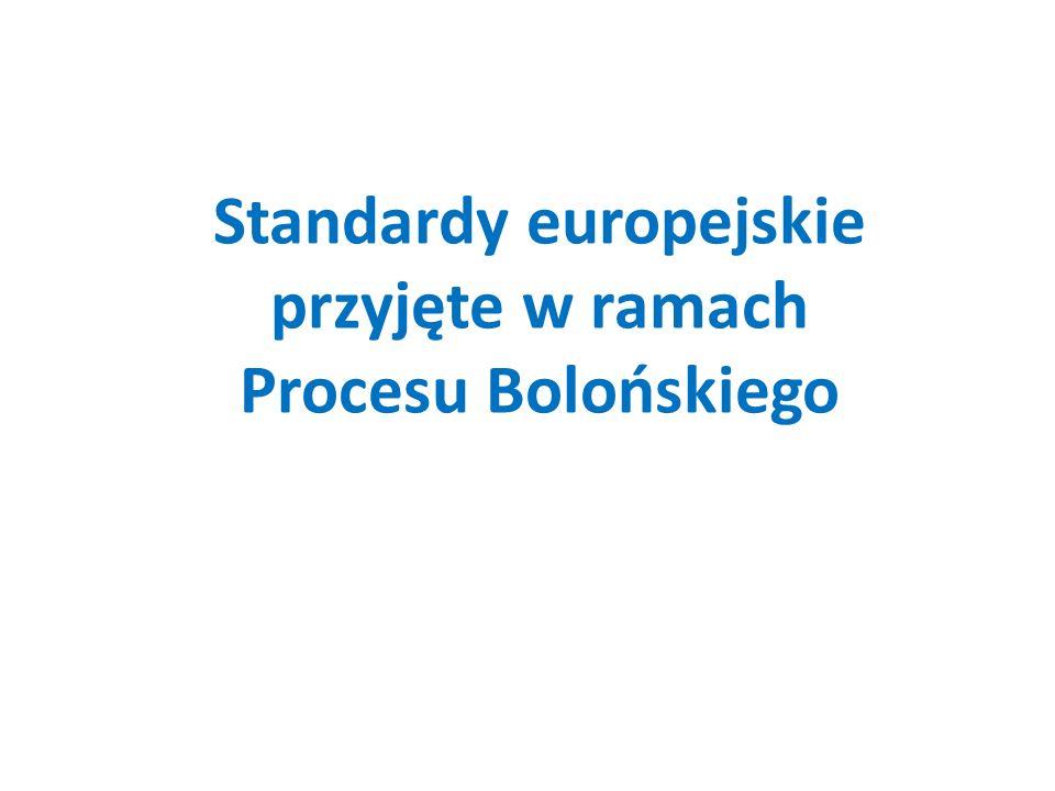 Standardy europejskie przyjęte w ramach Procesu Bolońskiego