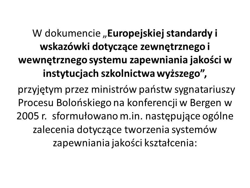 W dokumencie Europejskiej standardy i wskazówki dotyczące zewnętrznego i wewnętrznego systemu zapewniania jakości w instytucjach szkolnictwa wyższego, przyjętym przez ministrów państw sygnatariuszy Procesu Bolońskiego na konferencji w Bergen w 2005 r.