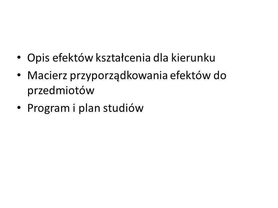 Opis efektów kształcenia dla kierunku Macierz przyporządkowania efektów do przedmiotów Program i plan studiów