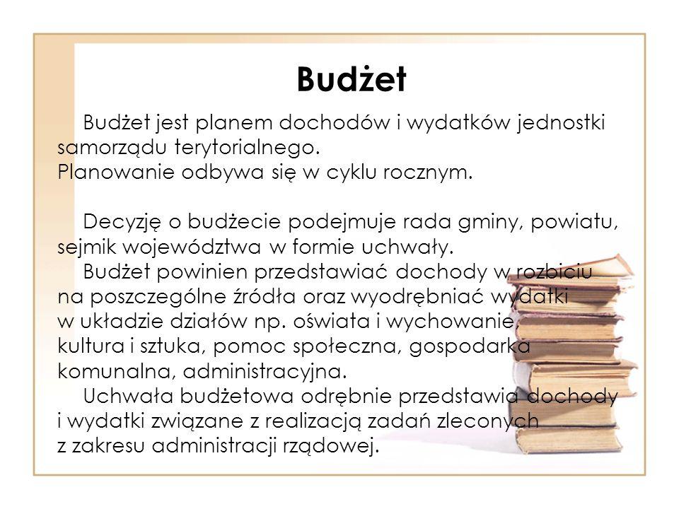 Budżet Budżet jest planem dochodów i wydatków jednostki samorządu terytorialnego.