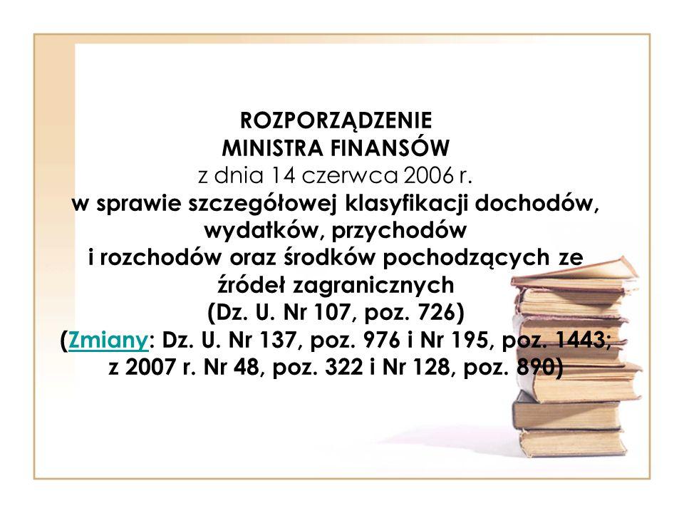ROZPORZĄDZENIE MINISTRA FINANSÓW z dnia 14 czerwca 2006 r.