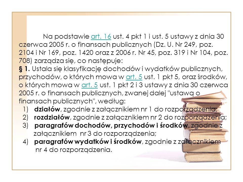 Na podstawie art.16 ust. 4 pkt 1 i ust. 5 ustawy z dnia 30 czerwca 2005 r.