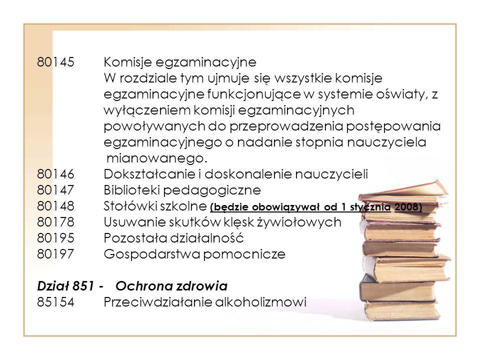80145 Komisje egzaminacyjne W rozdziale tym ujmuje się wszystkie komisje egzaminacyjne funkcjonujące w systemie oświaty, z wyłączeniem komisji egzaminacyjnych powoływanych do przeprowadzenia postępowania egzaminacyjnego o nadanie stopnia nauczyciela mianowanego.