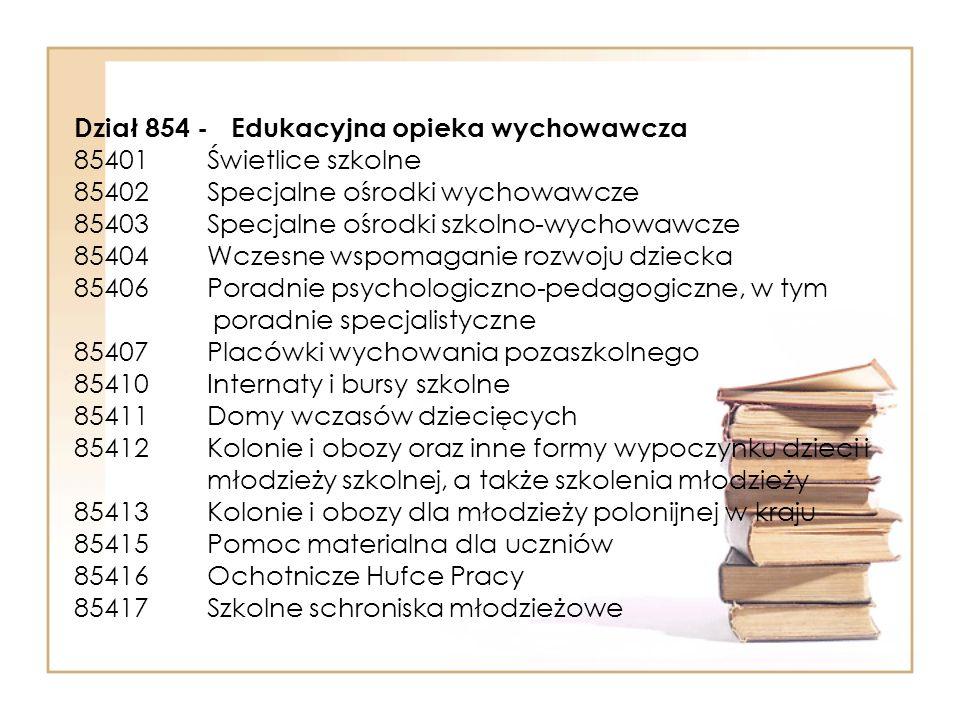 Dział 854 - Edukacyjna opieka wychowawcza 85401 Świetlice szkolne 85402 Specjalne ośrodki wychowawcze 85403 Specjalne ośrodki szkolno-wychowawcze 85404 Wczesne wspomaganie rozwoju dziecka 85406 Poradnie psychologiczno-pedagogiczne, w tym poradnie specjalistyczne 85407 Placówki wychowania pozaszkolnego 85410 Internaty i bursy szkolne 85411 Domy wczasów dziecięcych 85412 Kolonie i obozy oraz inne formy wypoczynku dzieci i młodzieży szkolnej, a także szkolenia młodzieży 85413 Kolonie i obozy dla młodzieży polonijnej w kraju 85415 Pomoc materialna dla uczniów 85416 Ochotnicze Hufce Pracy 85417 Szkolne schroniska młodzieżowe